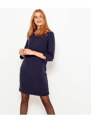 Tmavě modré šaty s 3/4 rukávem CAMAIEU