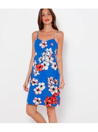 Modré květované šaty na ramínka CAMAIEU