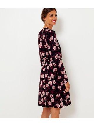 Světle fialovo-černé květované šaty CAMAIEU