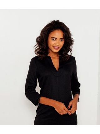 Černé šaty s 3/4 rukávem a ozdobnou krajkou CAMAIEU