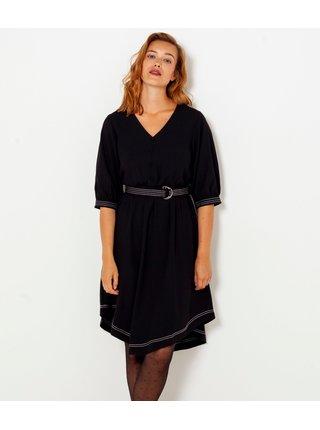 Černé šaty s 3/4 rukávem a ozdobným prošíváním CAMAIEU