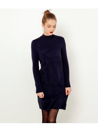 Tmavě modré svetrové šaty se stojáčkem CAMAIEU