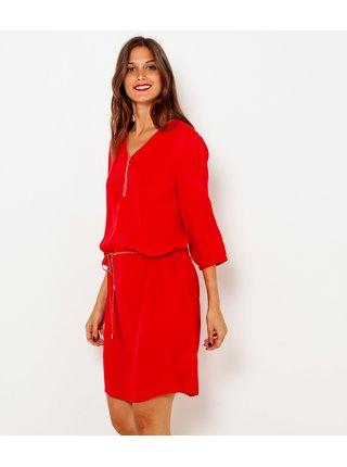 Červené šaty s 3/4 rukávom CAMAIEU