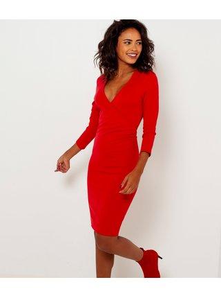 Červené púzdrové šaty s 3/4 rukávom CAMAIEU