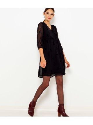 Černé květované šaty s krajkovým lemováním CAMAIEU