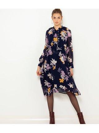 Tmavě modré květované šaty CAMAIEU