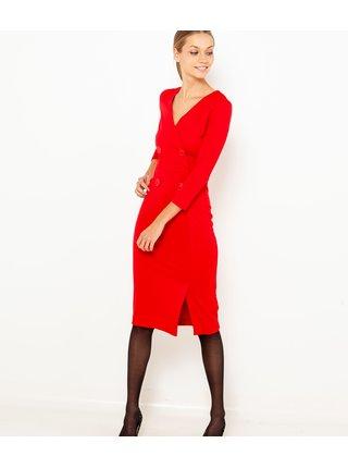 Červené pouzdrové šaty s 3/4 rukávem CAMAIEU