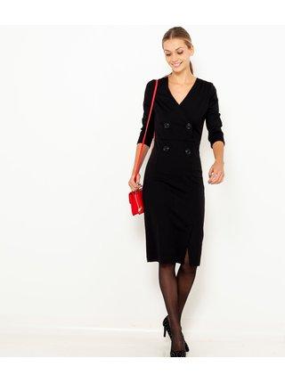 Černé pouzdrové šaty s 3/4 rukávem CAMAIEU