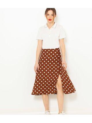 Hnědá puntíkatá midi sukně CAMAIEU