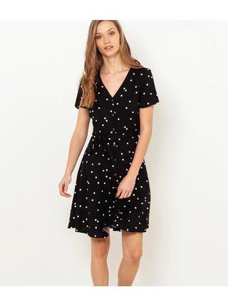 Černé puntíkaté šaty CAMAIEU