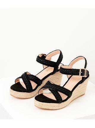 Černé sandále na klínku CAMAIEU