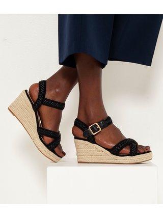 Čierne sandále na plnom podpätku CAMAIEU