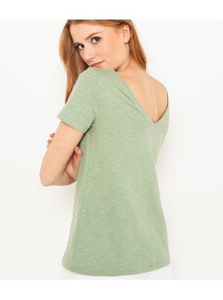 Světle zelené tričko s ozdobným výstřihem CAMAIEU