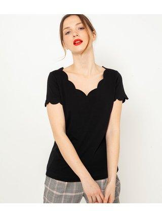 Černé tričko s ozdobným výstřihem CAMAIEU
