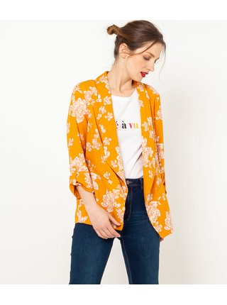 Oranžové kvetované sako CAMAIEU
