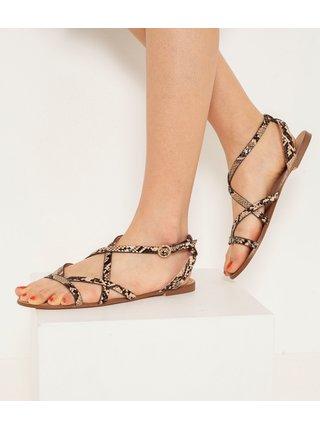 Béžové sandále s hadím vzorom CAMAIEU