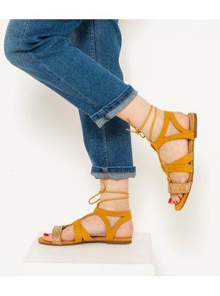 Hořčicové sandále v semišové úpravě CAMAIEU