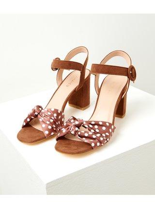 Hnědé puntíkované sandále CAMAIEU