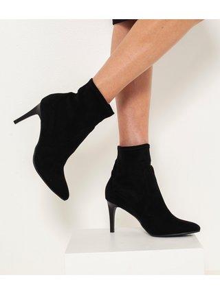 Černé kotníkové boty v semišové úpravě CAMAIEU