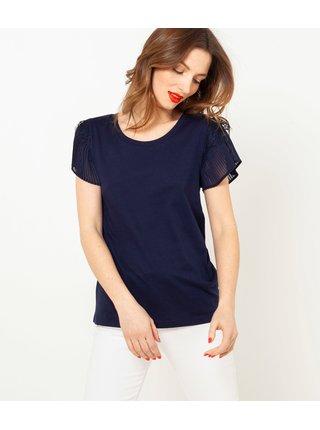 Tmavomodré tričko s plisovaným rukávom CAMAIEU