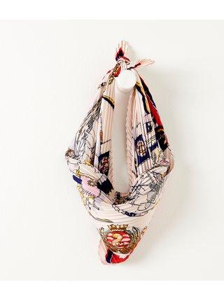 Biela vzorovaná plisovaná šatka CAMAIEU