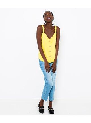 Žlutý lněný top CAMAIEU
