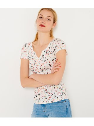 Krémové květované tričko CAMAIEU