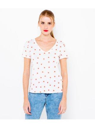 Bílé puntíkaté tričko CAMAIEU