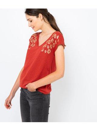Červené tričko s leopardím vzorom CAMAIEU