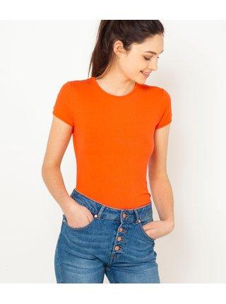 Oranžové rebrované tričko CAMAIEU