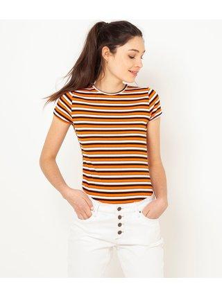 Hnědo-oranžové žebrované pruhované tričko CAMAIEU