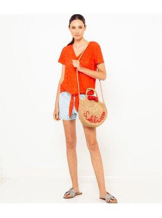 Oranžová krajkovaná blúzka CAMAIEU