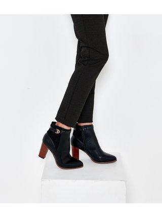 Černé kotníkové boty na vysokém podpatku CAMAIEU