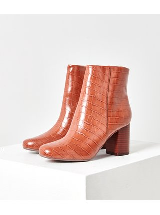 Hnědé kotníkové boty s krokodýlím vzorem CAMAIEU