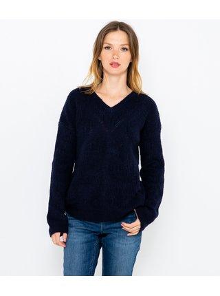 Čierny sveter s véčkovým výstrihom CAMAIEU