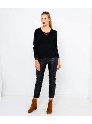 Čierny ľahký sveter s krajkou CAMAIEU