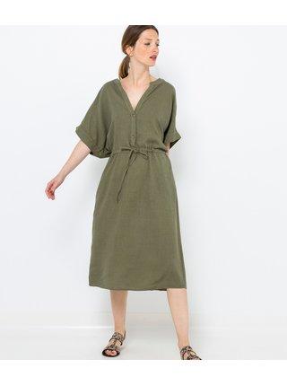 Khaki lněné šaty CAMAIEU