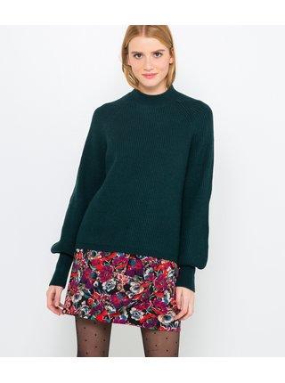 Zelený sveter s balonovým rukávom CAMAIEU