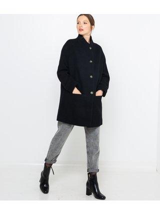 Čierny vlnený kabát CAMAIEU