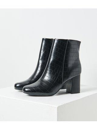 Čierne členkové topánky s krokodýlím vzorom CAMAIEU