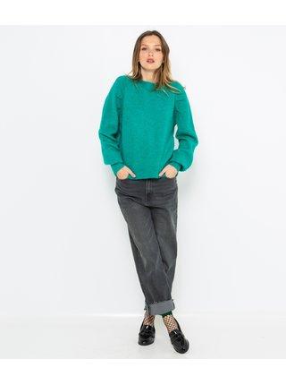 Zelený sveter s balónovým rukávom CAMAIEU