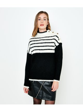 Bielo-čierny pruhovaný sveter CAMAIEU