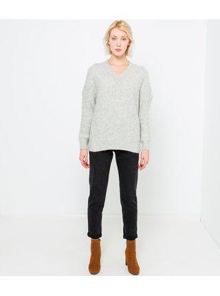 Světle šedý svetr s véčkovým výstřihem CAMAIEU