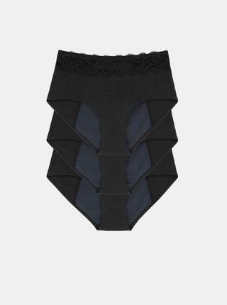 Sada tří černých menstruačních kalhotek s krajkou DORINA