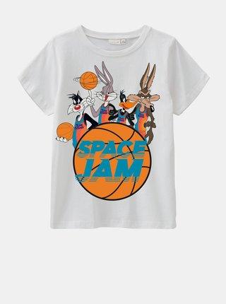 Biele chlapčenské tričko s potlačou name it Space Jam