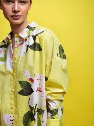Žluté květované košilové šaty VERO MODA Gaja