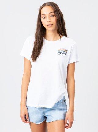 Bílé dámské tričko s potiskem na zádech Rip Curl