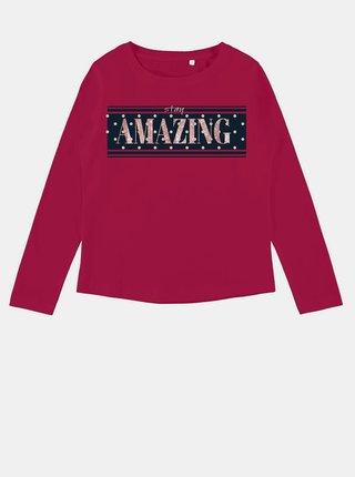 Tmavočervené dievčenské tričko s potlačou name it Veen
