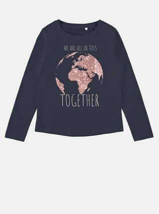 Tmavomodré dievčenské tričko s potlačou name it Veen