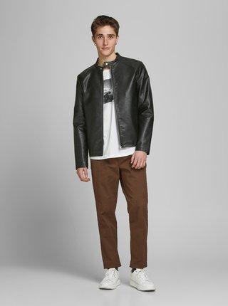 Černá koženková bunda Jack & Jones Connor